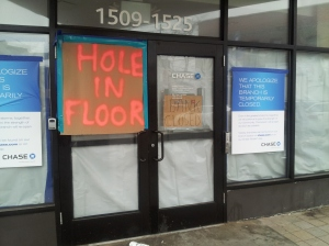 Chase Bank branch in Sheepshead Bay, still closed six weeks after Sandy.