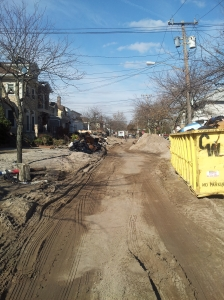 A beach block in Rockaway. Sandy dragged so much mud and sand onto the street that it had to be cleared by plows.