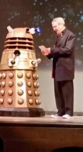 "David Gerrold and a dalek. Best line of the Hugos: ""David, my eye is up here!"""