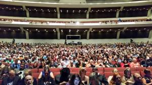 Filled auditorium, view from the second row (aka the good seats!)